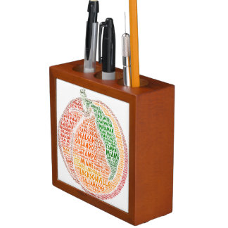 Peach illustrated with cities of Florida State USA Desk Organizer