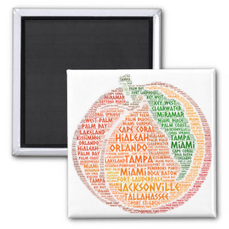 Peach illustrated with cities of Florida State USA Magnet