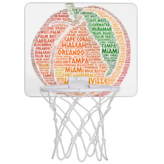 Peach illustrated with cities of Florida State USA Mini Basketball Hoop