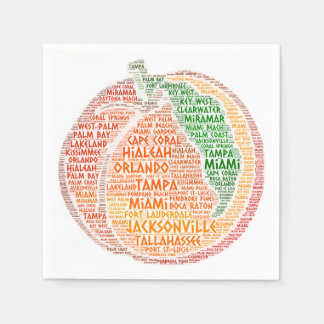 Peach illustrated with cities of Florida State USA Napkin