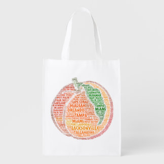Peach illustrated with cities of Florida State USA Reusable Grocery Bag