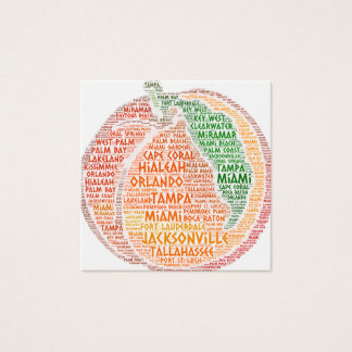Peach illustrated with cities of Florida State USA Square Business Card