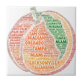 Peach illustrated with cities of Florida State USA Tile