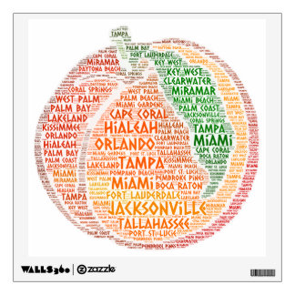 Peach illustrated with cities of Florida State USA Wall Decal