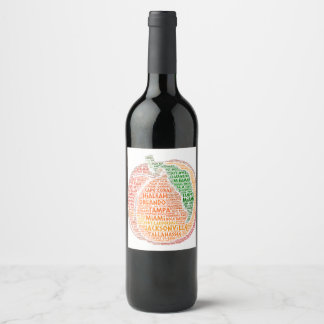 Peach illustrated with cities of Florida State USA Wine Label