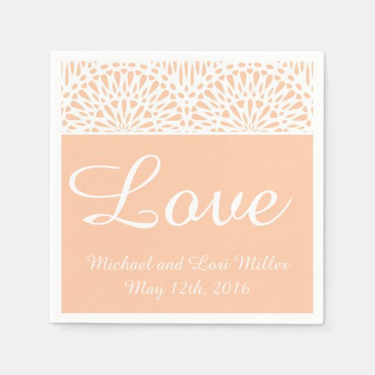 Peach Lace Love Wedding Paper Napkins