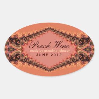 Peach Lace Wine Label Sticker