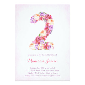 Peach lavender 2nd birthday invites for girl