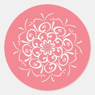Peach Mandala Classic Round Sticker