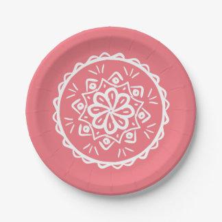 Peach Mandala Paper Plate