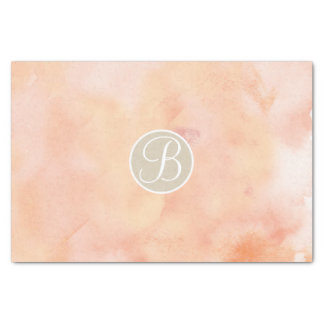 Peach Marble Watercolor Monogram Letter Initial Tissue Paper