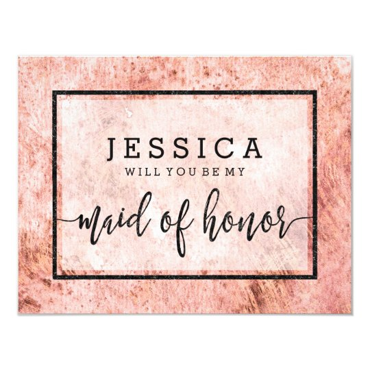 Peach Marble Will You Be My Maid of Honour Card