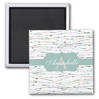 Peach & Mint Branches Cottage Chic Monogram Square Magnet