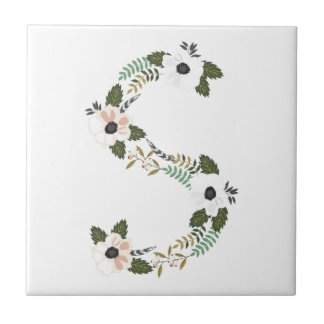 Peach & Mint Floral Monogram Initial S Ceramic Tiles
