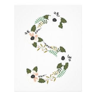 Peach & Mint Floral Monogram Initial S Customized Letterhead