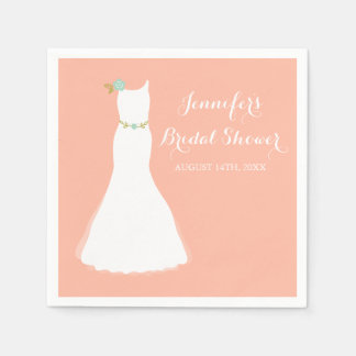 Peach Mint Floral Wedding Gown Bridal Shower Paper Napkin