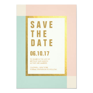 "Peach Mint + Gold Foil Save the Dates | Weddings 5"" X 7"" Invitation Card"