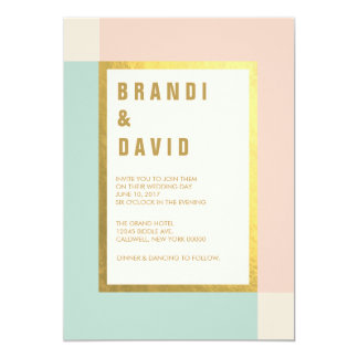 Peach Mint Gold Foil Wedding Invites | Weddings