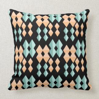 Peach Mint Green Diamond Geometric Shape Black Throw Pillow