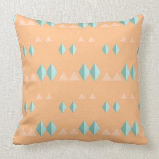 Peach Mint Green Diamond Geometric Triangle Shape Throw Pillow