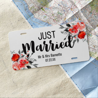 Peach & Mint Peony Floral Wedding Just Married License Plate