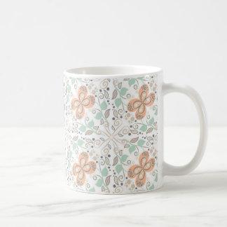 Peach & Mint Whimsical Floral Coffee Mug