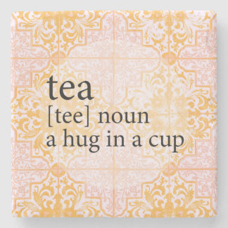 Peach Moroccan Tile Tea Time Hug in a Cup Stone Coaster