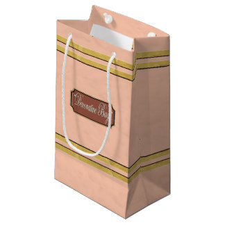 Peach or Pink Gold Lines Small Gift Bag