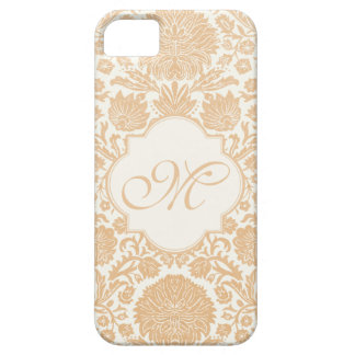 Peach, Orang Monogrammed Floral Damask iPhone 5 Covers