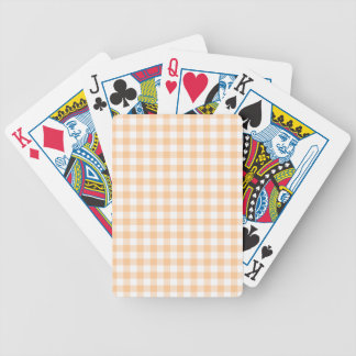Peach Orange and White Gingham Poker Deck