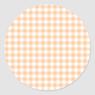 Peach Orange and White Gingham Round Sticker