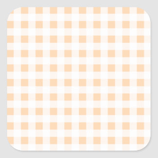 Peach Orange and White Gingham Square Sticker