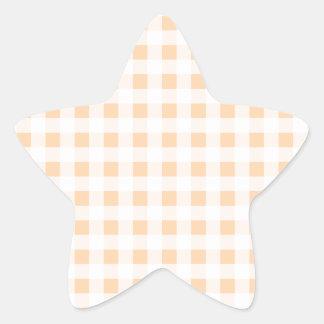 Peach Orange and White Gingham Star Sticker