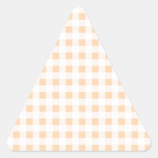 Peach Orange and White Gingham Triangle Sticker
