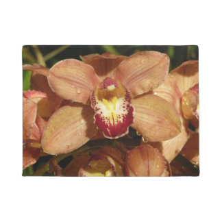 Peach Orchids with Raindrops Beautiful Floral Doormat