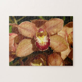 Peach Orchids with Raindrops Beautiful Floral Jigsaw Puzzle