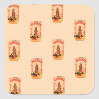 Peach Pagoda Square Sticker