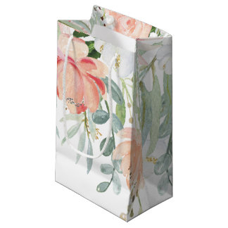 Peach Pale Green Watercolor Flowers SMALL Bags