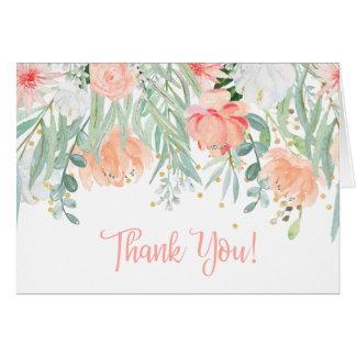 Peach Pale Green Wildflowers Greenery Thank You Card