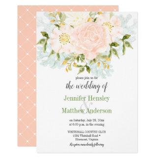 Peach Passion Floral Diamond Dots Invitation