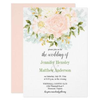 Peach Passion Watercolor Floral Wedding Invitation