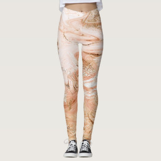 Peach Pastel Gold White Abstract Marble Molten Leggings