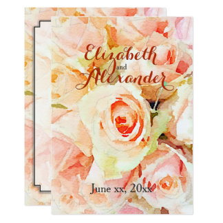 Peach Pastel Roses Wedding Menu Card