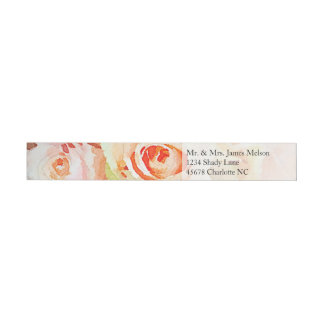 Peach Pastel Watercolor Wraparound Address Label