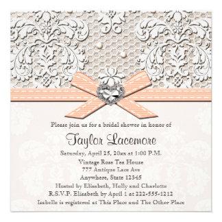 Peach Pearl Lace Diamond Bridal Shower Invitation