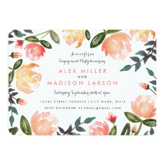 "Peach Peonies Engagement Party 5"" X 7"" Invitation Card"
