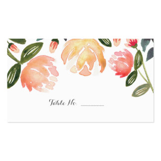 Peach Peonies Guest Table Escort Cards Business Card