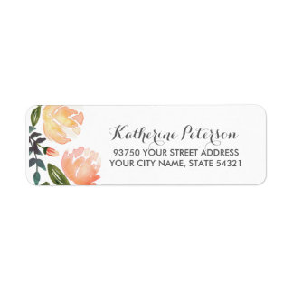 Peach Peonies Return Address Label