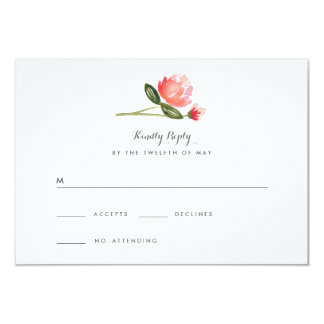 Peach Peonies RSVP Card