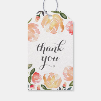 Peach Peonies Thank You Gift Tags